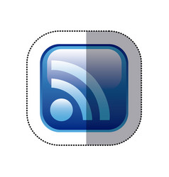 Sticker blue square frame with wifi icon vector