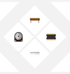 flat electronics set of bobbin microprocessor vector image
