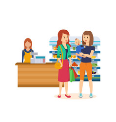 the girls came to the supermarket sho vector image