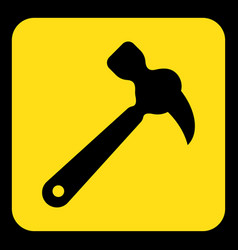 Yellow black information sign - claw hammer icon vector