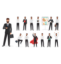 set of happy businessman character with different vector image
