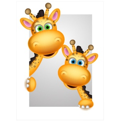 Cute couple giraffe cartoon vector