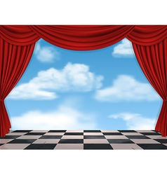 Red curtains and sky background vector