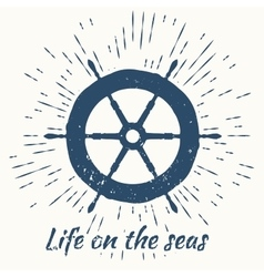 Helm and vintage sun burst frame life on the seas vector