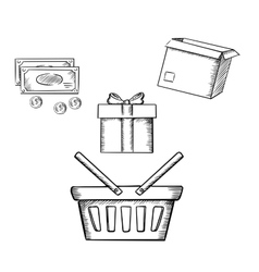 Shopping basket gift parcel and money vector