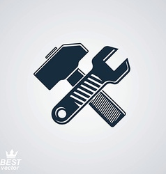 Simple wrench and hammer crossed true graphic vector