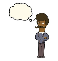 Cartoon man with mustache with thought bubble vector