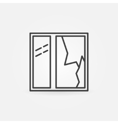 Broken window line icon vector