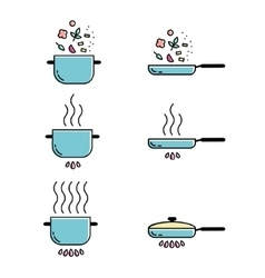Color cooking line icons set vector