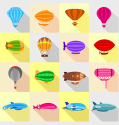 Airship balloons icons set flat style vector