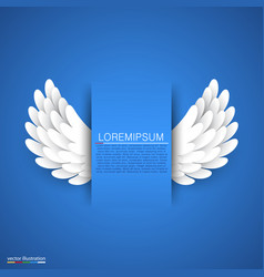 Artificial white paper wings on blue background vector
