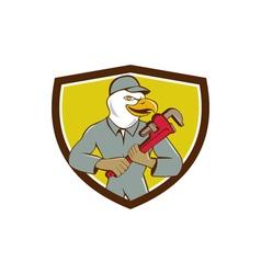 Bald eagle plumber monkey wrench crest cartoon vector