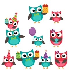 Birthday party elements with owls vector