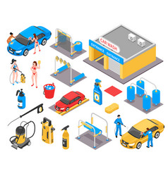 Car wash isometric set vector