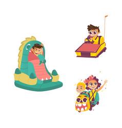 children in amusement park set vector image