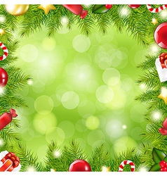 Christmas Tree Border With Blur vector image vector image