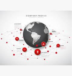 company profile overview template with red vector image vector image