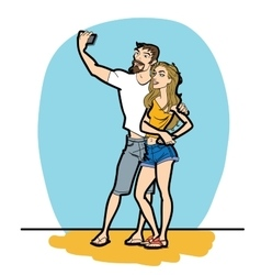 Couple man and woman selfie phone vector image vector image