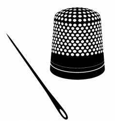 Cute thimble and needle vector