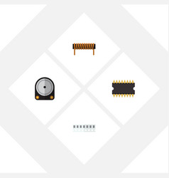 Flat electronics set of bobbin microprocessor vector
