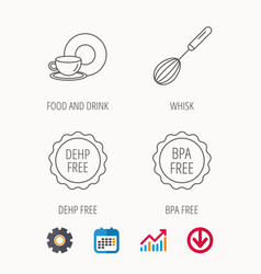 Food and drink whisk and bpa free icons vector