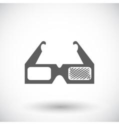 Glasses 3D single icon vector image