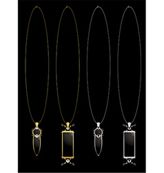 Gold and silver elegant necklaces vector image vector image