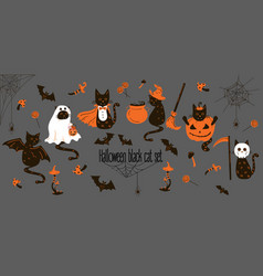 Halloween black cats trick or treat objects vector