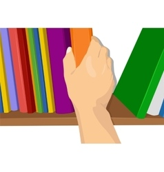Hand taking a book out from the shelf vector