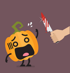 hand with a knife prepare to cut the funny vector image