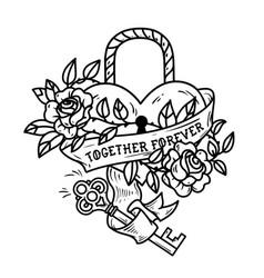 heart shaped lock tattoo heart under lock and key vector image