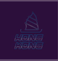 Hong kong city logo in line style silhouette of vector
