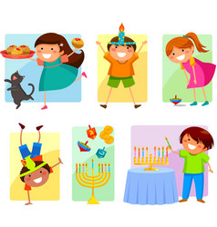 kids on Hanukkah vector image