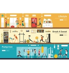 Lifestyle break a sweat pump iron flat interior vector
