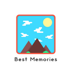 Magnet like photoframe with mountains vector