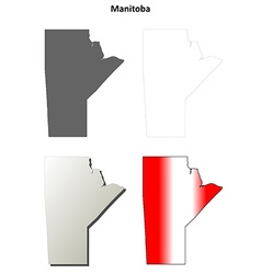 Manitoba blank outline map set vector