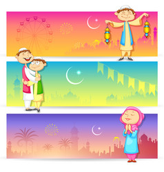 People celebrating eid vector