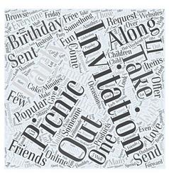 Picnic invitation word cloud concept vector