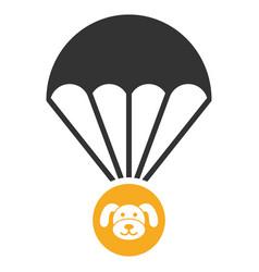 Puppycoin parachute flat icon vector