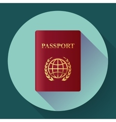 Red leather passport icon flat design style vector