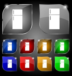Refrigerator icon sign Set of ten colorful buttons vector image
