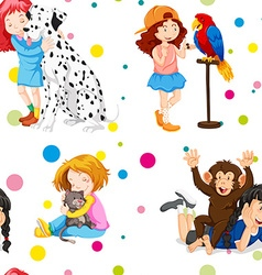 Seamless background with girls and pets vector