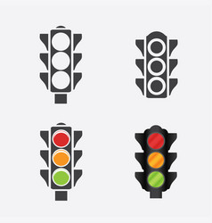 Set of traffic lights flat signal icons vector