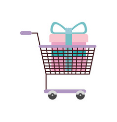 silhouette color with shopping cart purple and vector image