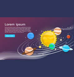 Solar system with planets flat design vector