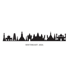 Southeast asia landmarks skyline in black and vector