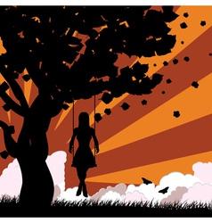 Sunset girl on swing vector