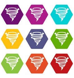tornado icon set color hexahedron vector image