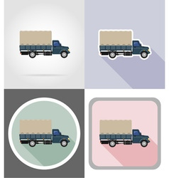 truck flat icons 03 vector image