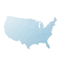 USA map of radial halftone dots vector image vector image